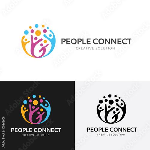 People connect logo.communication logo. family logo. vector logo ...