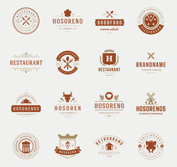 Vintage Restaurant Logos Design Templates Set.