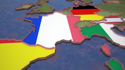Mappa Francia con confini divisi da mura