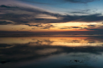 Awesome sunset and still water on Gili Air Island, Indonesia