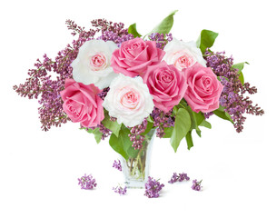 lilac flowers and roses bunch in vase isolated on white background with sample text
