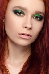 Girl with red hair, beautiful girl portrait, pretty makeup, pink lips, white background, isolated, green eyes in studio