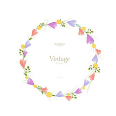 Round floral frame with spring flowers for your design.