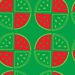 Green seamless pattern of watermelon slices.