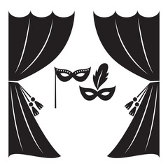 Theater curtain and masks vector illustration. Theater logo, label or badge template.