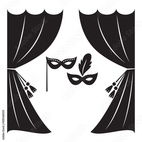 quottheater curtain and masks vector illustration theater
