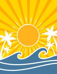 Retro style tropical ocean waves summer poster design