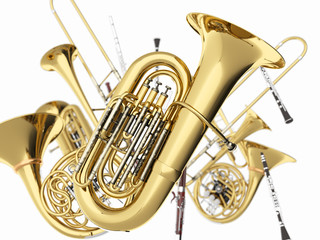 Wind musical instruments  on white