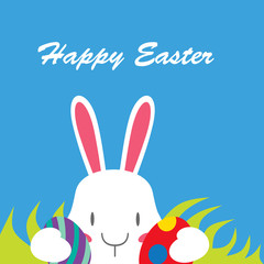 Happy Easter, Easter Bunny brought children to the egg. Postcard for holiday