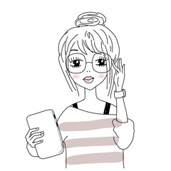 Vector illustration of smart girl in nerdy glasses, hipster look.