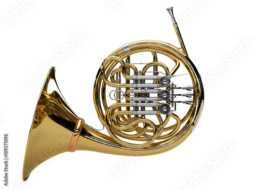 """Aged french horn isolated on white background"" Stock ..."