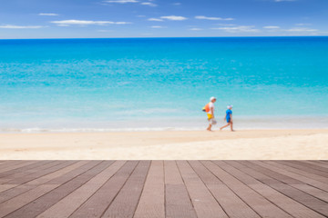 Wooden floor on the background of beach sea and sky.