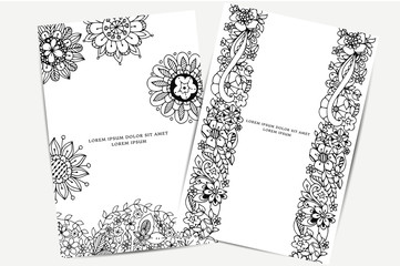 Vector illustration of card with floral banners Zen Tangle, doodling.  Bright, fashion beauty.  Adult coloring books