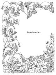 Vector illustration of floral frame zentangle, doodling. Zenart, doodle, flowers, butterflies, delicate, beautiful. Black white. Adult coloring books