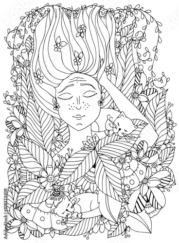 Vector Illustration Zentangl Girl Child With Freckles Is Sleeping Cats In The Flowers Doodle