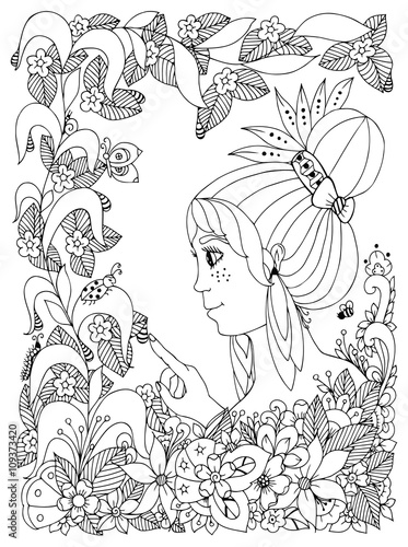 Flower Garden Coloring Book Vector Illustration Zentangl Girl Child With Freckles Looks At