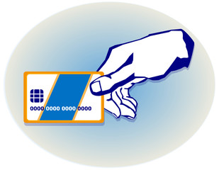 hand with a credit card on the background of the circle