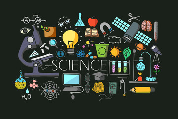 Flat line art design of Science concept