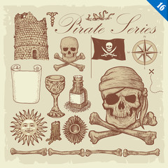 Pirate Sketches Layered Vector Set