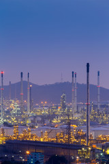 Electrical factory with mountain background night view