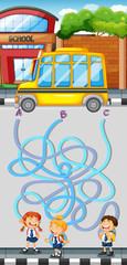 Maze game with students and school bus