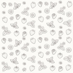 Vector silhouettes of Strawberry pattern