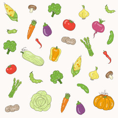 Vector seamless pattern vegetables