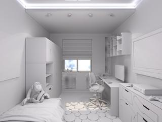 3d illustration of a nursery for a boy
