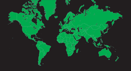 Planisphere vector - globe map, vector green on black background.