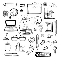 Business icons hand-drawn set.