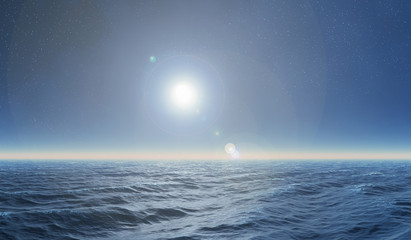 deep blue sea at night