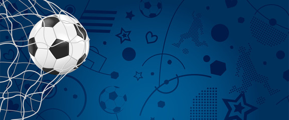 Ball im Netz vor blauen Hintergrund - Banner