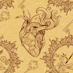 heart, clockwork and key in steampunk style.