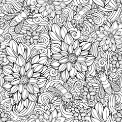 seamless pattern of flowers and bees.