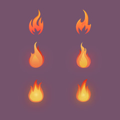 Flame icon set. Cartoon illustration. Vector