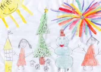 child's drawing new year