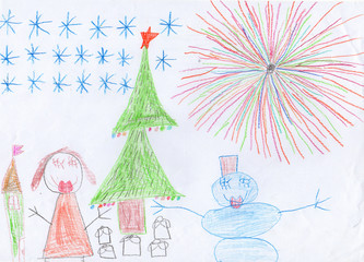 child's drawing christmass