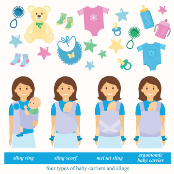 Four types of baby carriers and slings: sling ring, ergonomic baby carrier, mei tai baby carrier, aling scarf.Baby supplies.Vector illustration.