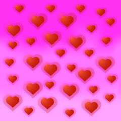 Vector illustration heart background. With pink and red colors.