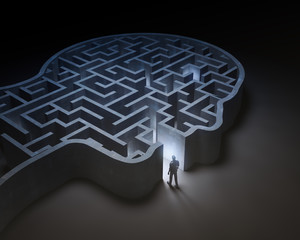 Man entering a maze inside a head