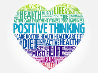 Positive thinking heart word cloud, fitness, sport, health concept