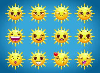 Cute cartoon sun character emotions
