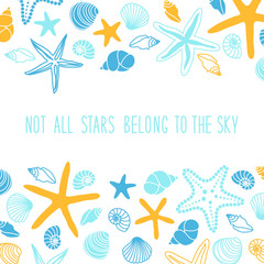 Cute summer background with different shells and starfishes and hand written text