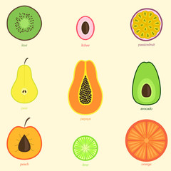 Hand drawn doodle fruits