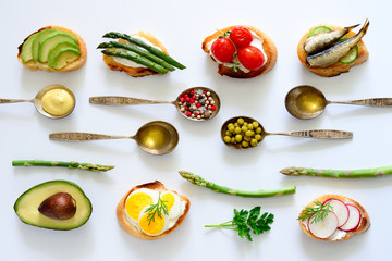 Culinary background with canapes