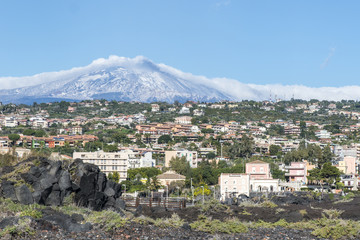 Catania. The town at the foot of Mount Etna. Sicily. Italy.