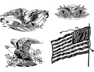 U.S. eagles and old U.S. historical flag