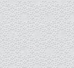 Arabesque Pattern with Grunge Light Grey Background, Vector Illustration