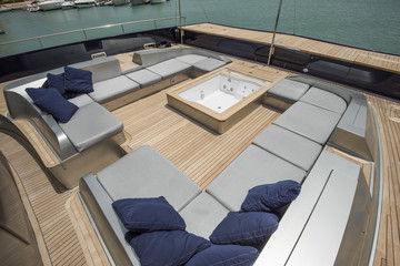 Front deck of a large luxury yacht