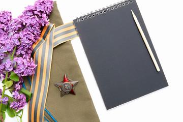notebook, field cap, lilac